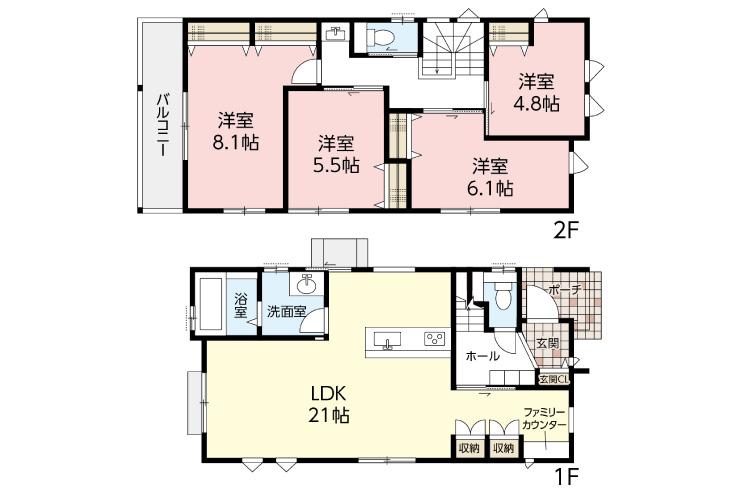 広島市東区中山鏡が丘14新築一戸建て分譲住宅間取り図
