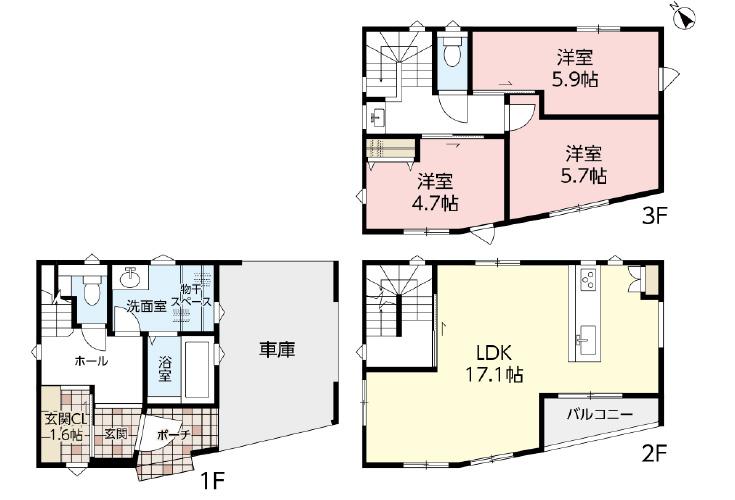 広島市中区舟入南4丁目10【第2現地】新築一戸建て分譲住宅間取り