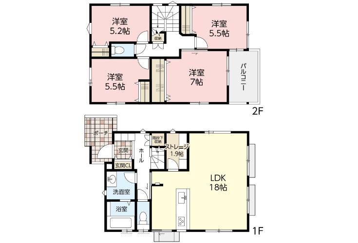 広島市佐伯区観音台1丁目27新築一戸建て分譲住宅間取り図