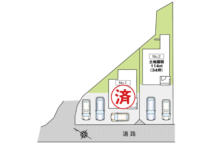 広島県安芸郡府中町茂陰2丁目6新築一戸建て分譲住宅区画図