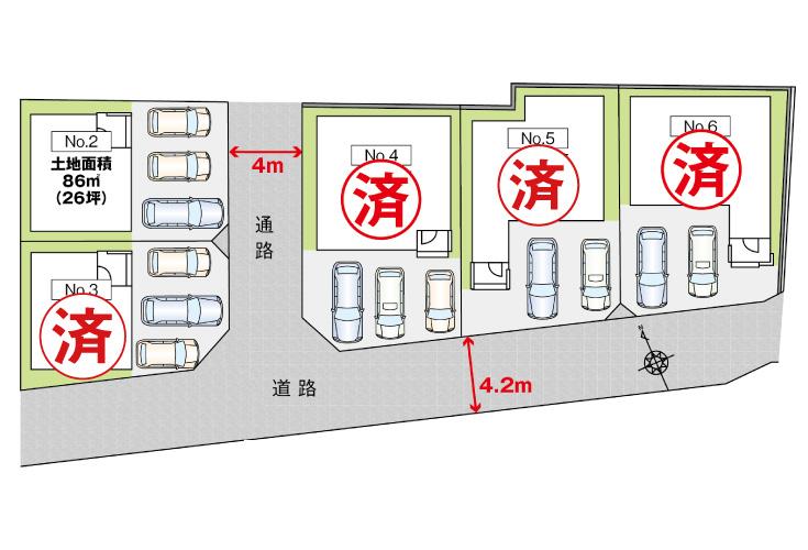 広島市佐伯区美の里2丁目4新築一戸建て分譲住宅区画図