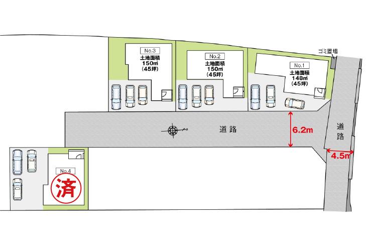 広島市安佐北区可部8丁目22新築一戸建て分譲住宅区画図
