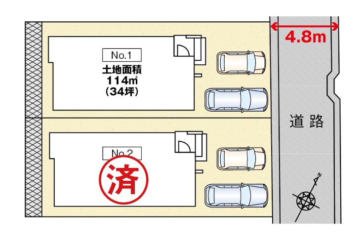 広島市東区中山鏡が丘14新築一戸建て分譲住宅区画図