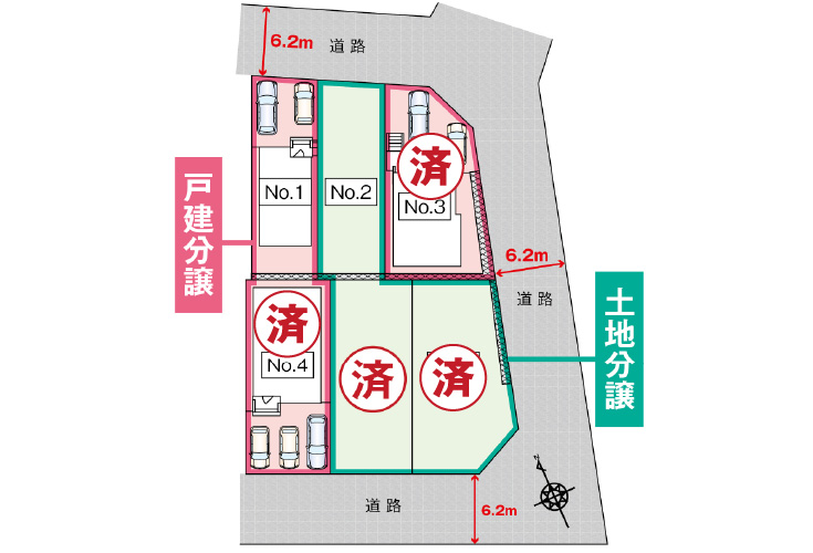 広島市安芸区船越1丁目6新築一戸建て分譲住宅区画図