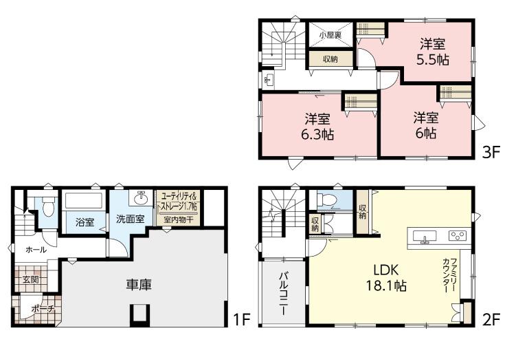 広島市安佐南区長束5丁目30新築一戸建て分譲住宅間取り図