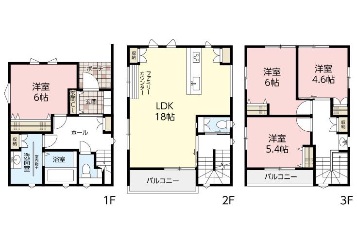広島市安佐南区川内3丁目18新築一戸建て分譲住宅間取り図
