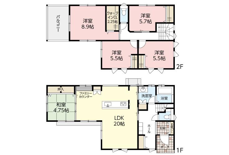広島市安佐北区可部8丁目22新築一戸建て分譲住宅間取り図