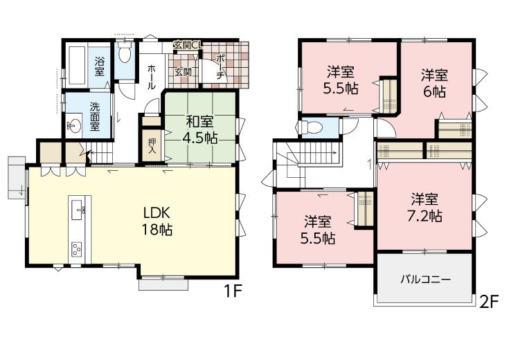 広島市安佐北区可部1丁目5新築一戸建て分譲住宅間取り図