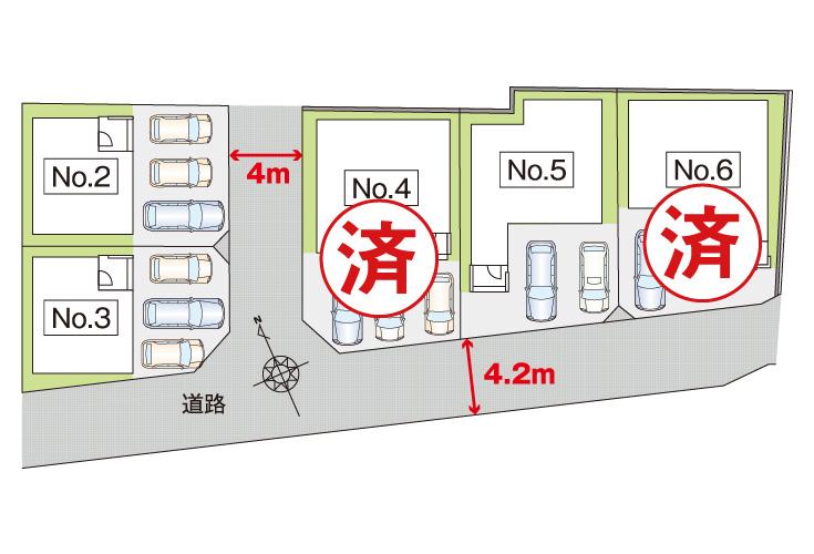 広島市安佐南区長束3丁目42新築一戸建て分譲住宅区画図