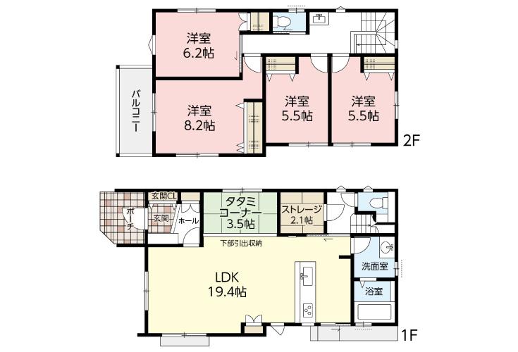 広島市安佐北区可部南4丁目19新築一戸建て分譲住宅間取り図