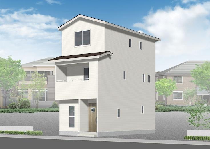 広島市安佐南区長束4丁目11新築一戸建て分譲住宅外観パース