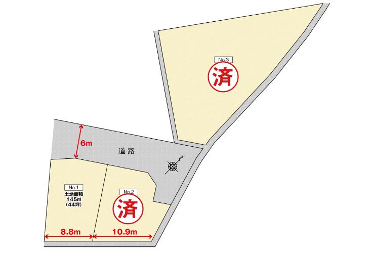 広島市安佐南区中須2丁目18土地分譲現地区画図
