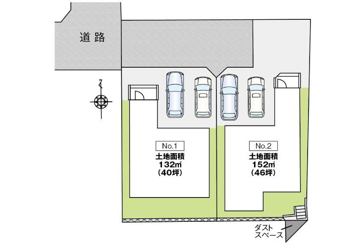 広島県安芸郡府中町柳ケ丘76新築一戸建て分譲住宅区画図