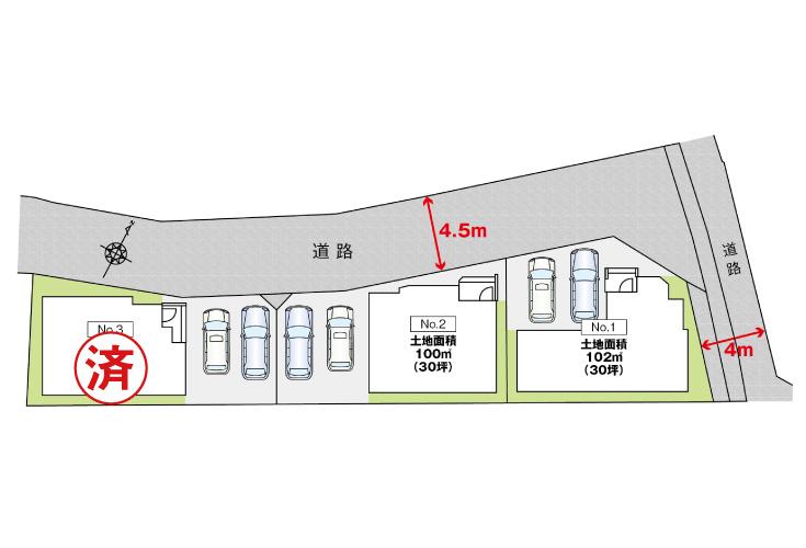 広島市安佐北区三入2丁目14新築一戸建て分譲住宅区画図