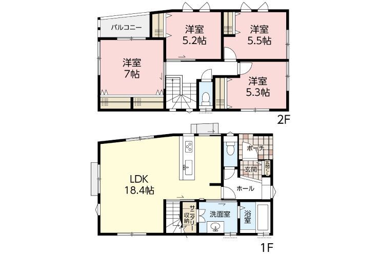 呉市三和町15新築一戸建て分譲住宅間取り