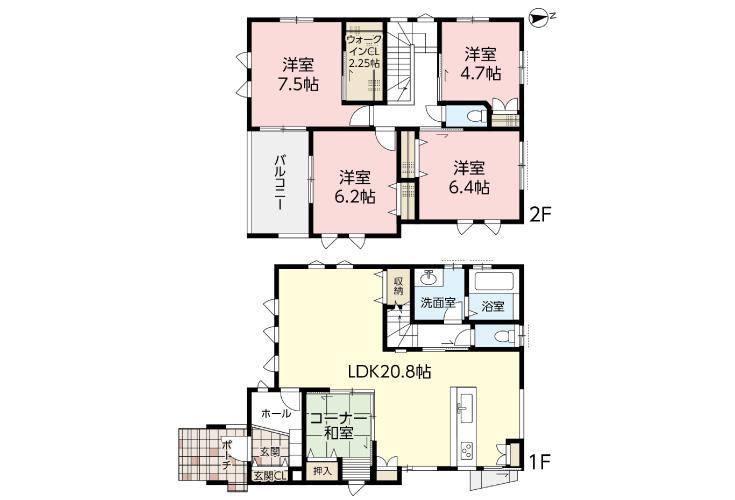 広島市安佐北区亀山2丁目14新築一戸建て分譲住宅間取り図
