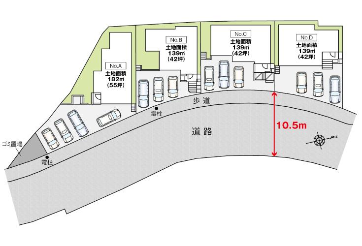 広島市安芸区中野4丁目46新築一戸建て分譲住宅区画図