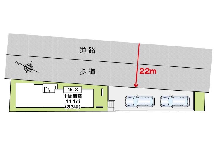 広島市安佐南区東原2丁目8新築一戸建て分譲住宅区画図