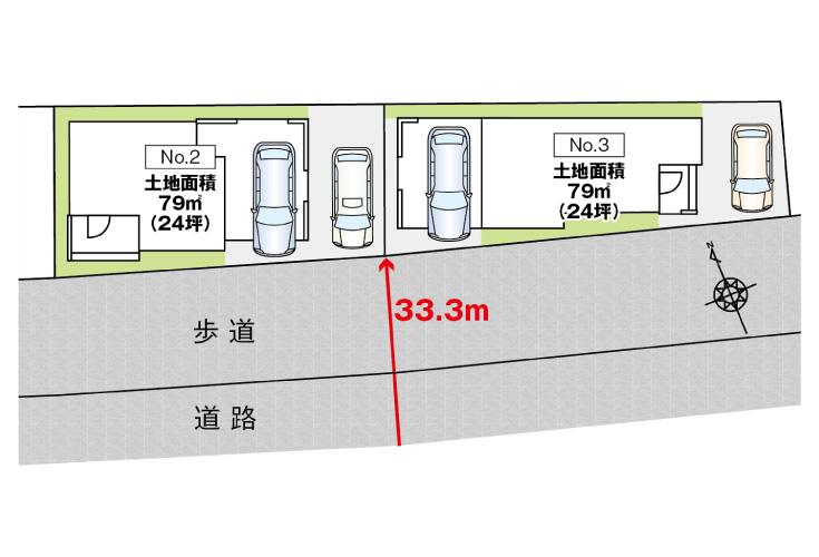 広島市安佐南区中筋3丁目4新築一戸建て分譲住宅区画図
