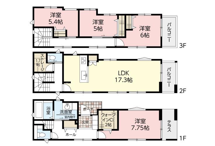 広島市安佐南区東原2丁目8新築一戸建て分譲住宅間取り図