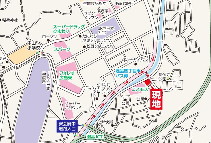 広島市東区温品2丁目1新築一戸建て分譲住宅現地案内図