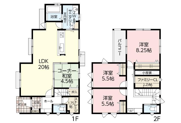広島市安芸区中野4丁目46新築一戸建て分譲住宅間取り図