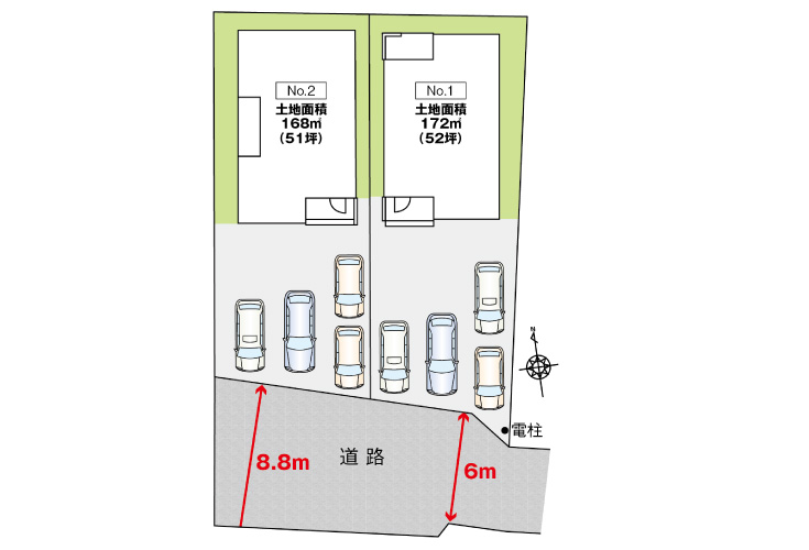 広島市安佐北区亀山2丁目5新築一戸建て分譲住宅区画図
