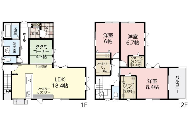広島市安佐南区高取北4丁目19新築一戸建て分譲住宅間取り図