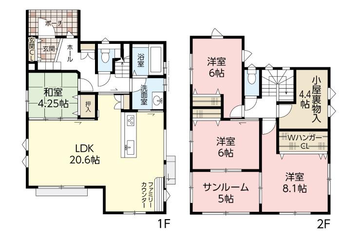広島市安佐北区可部南3丁目15新築一戸建て分譲住宅間取り図
