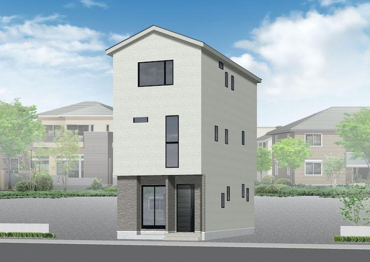 安芸郡海田町蟹原2丁目2新築一戸建て分譲住宅外観パース