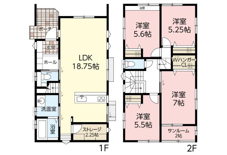 広島市安佐南区高取南2丁目3新築一戸建て分譲住宅間取り図
