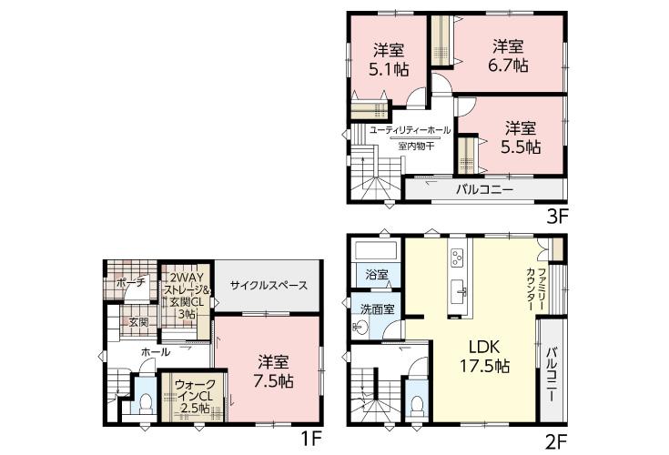 広島市西区天満町3新築一戸建て分譲住宅間取り図