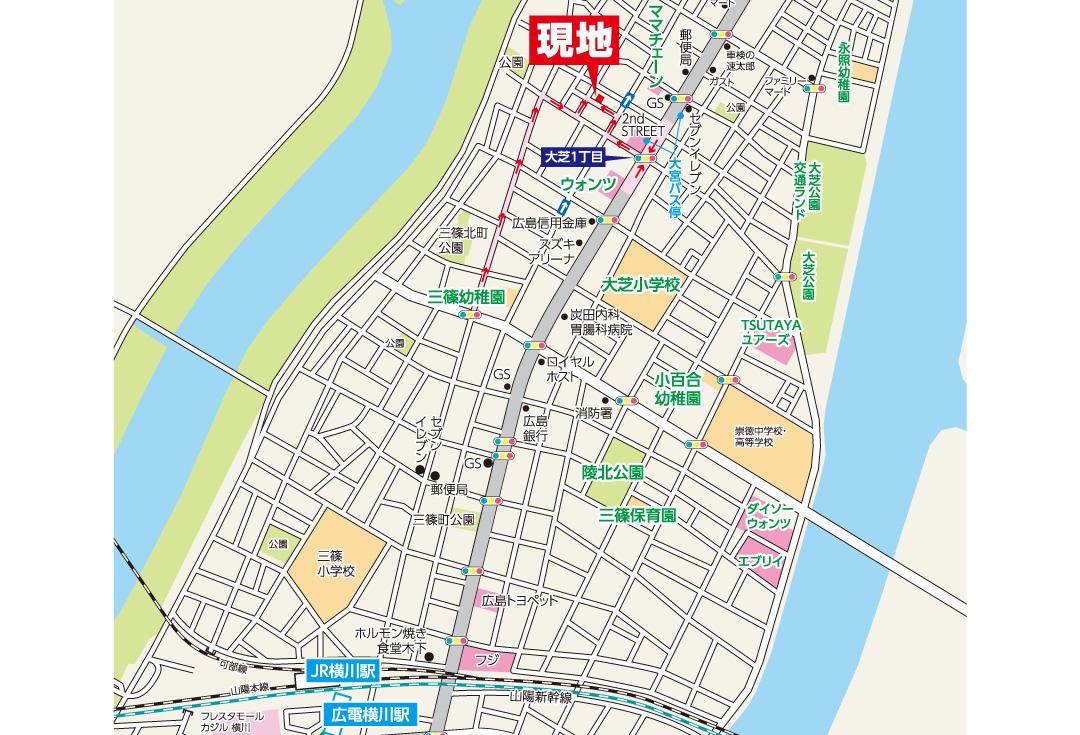 広島市西区大宮1丁目24新築一戸建て分譲住宅現地案内図