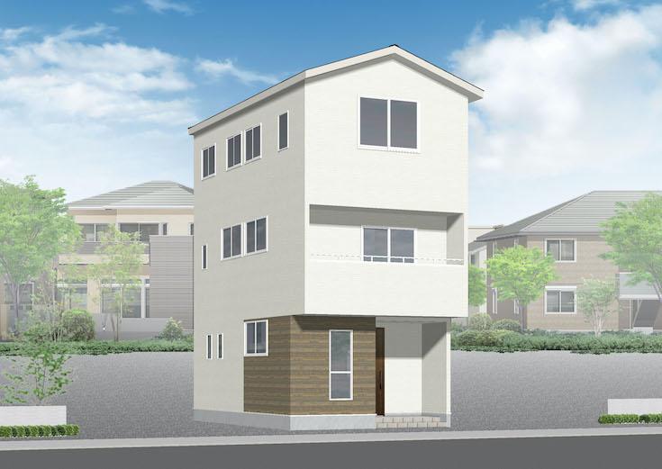 広島市西区観音本町1丁目3新築一戸建て分譲住宅外観パース