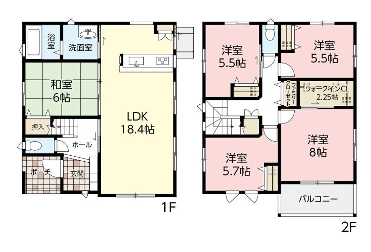 廿日市市前空2丁目8新築一戸建て分譲住宅間取り図