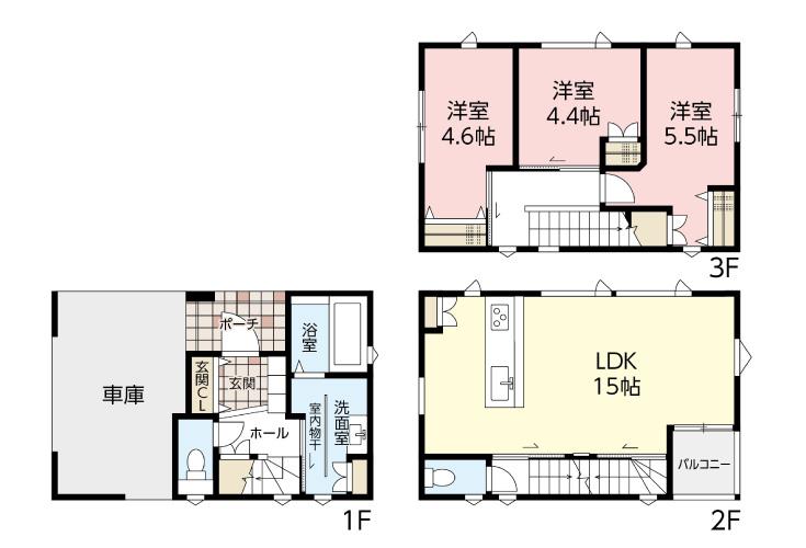広島市安佐南区西原1丁目18新築一戸建て分譲住宅間取り図