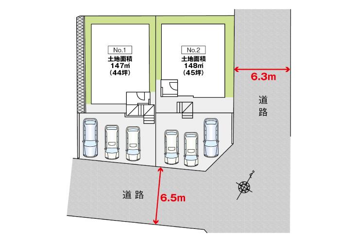廿日市市前空2丁目8新築一戸建て分譲住宅区画図