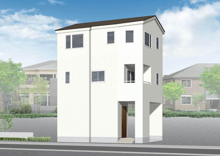 広島市安佐南区西原1丁目18新築一戸建て分譲住宅外観パース