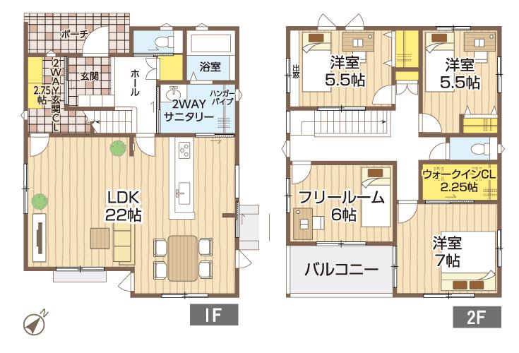 広島県大竹市西栄2丁目10新築一戸建て分譲住宅間取り図