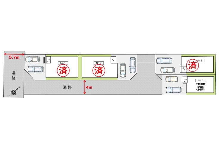 広島県安芸郡海田町南幸町1新築一戸建て分譲住宅区画図