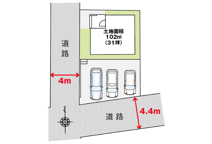広島市佐伯区三筋2丁目3新築一戸建て分譲住宅区画図
