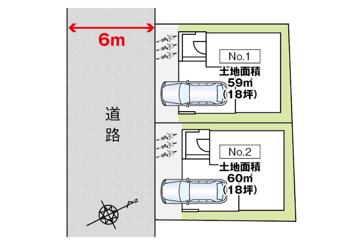 広島市西区観音町11新築一戸建て分譲住宅区画図