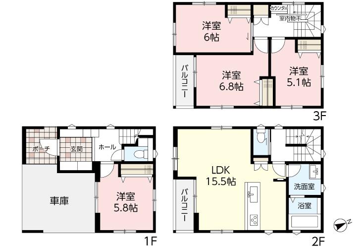 広島市西区観音町11新築一戸建て分譲住宅間取り図