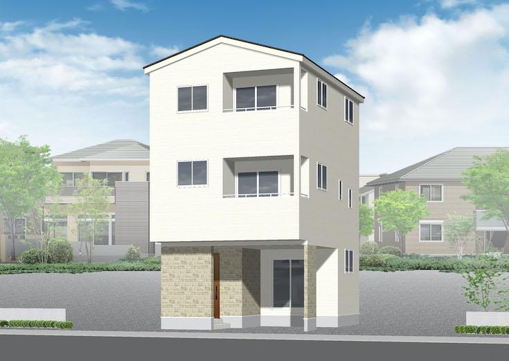 広島市西区観音町11新築一戸建て分譲住宅外観パース